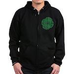 Celtic Four Leaf Clover Zip Hoodie (dark)