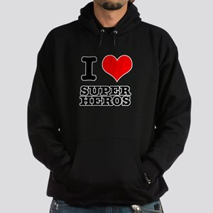 I Heart (Love) Super Heros Hoodie (dark)