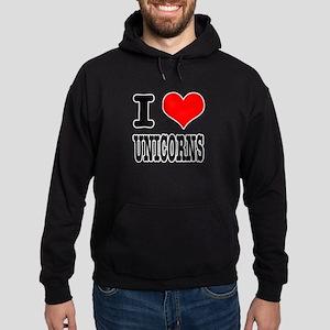 I Heart (Love) Unicorns Hoodie (dark)
