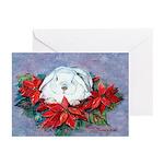 Rabbit in PoinsettiasGreeting Cards (Pk of 10)