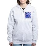 Blue Quilt Watercolor Women's Zip Hoodie