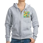 Color Square Abstract 1 Women's Zip Hoodie