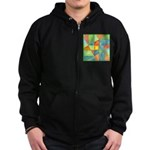 Color Square Abstract 1 Zip Hoodie (dark)