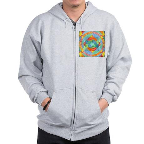 Sacred Geometry Watercolor Zip Hoodie