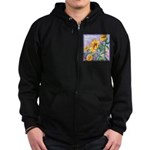 Sunny Sunflowers Watercolor Zip Hoodie (dark)