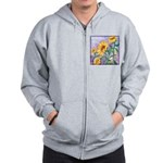 Sunny Sunflowers Watercolor Zip Hoodie
