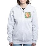 Peach Rose Watercolor Women's Zip Hoodie