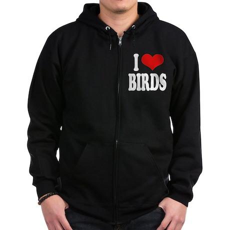 I Love Birds Zip Hoodie (dark)