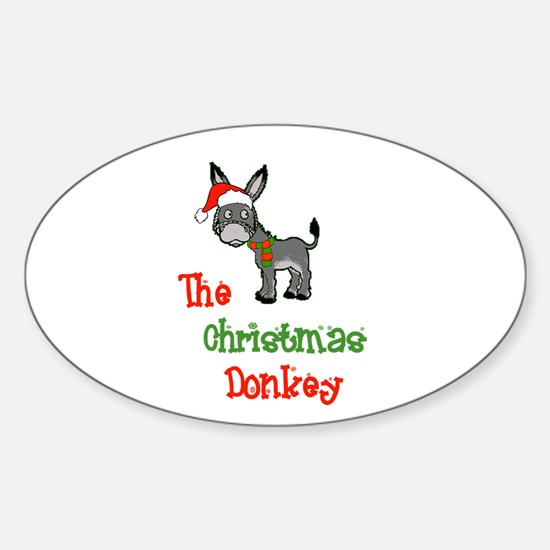 Christmas Donkey Oval Decal