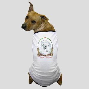 White Poodle Happy Holiday Dog T-Shirt