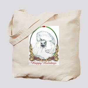 White Poodle Happy Holiday Tote Bag