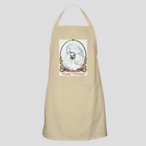 White Poodle Happy Holiday BBQ Apron