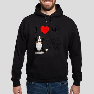 I Love Heart Bernese Dog Hoodie (dark)