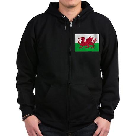 Welsh flag of Wales Zip Hoodie (dark)
