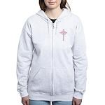 Pink Celtic Cross Women's Zip Hoodie