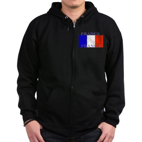 France French Flag Zip Hoodie (dark)