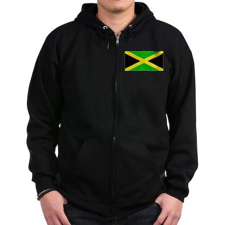 Jamaica Jamaican Blank Flag Zip Hoodie (dark)
