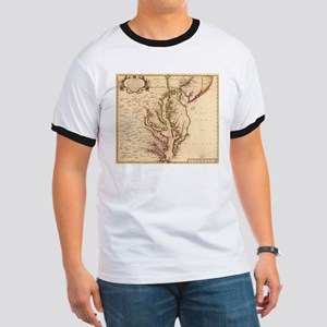 Vintage Map of The Chesapeake Bay (1719) T-Shirt