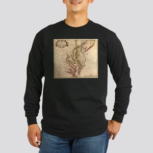 Vintage Map of The Chesapeake Long Sleeve T-Shirt