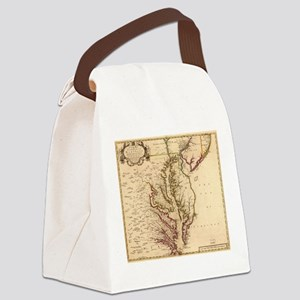 Vintage Map of The Chesapeake Bay Canvas Lunch Bag