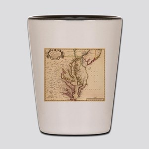 Vintage Map of The Chesapeake Bay (1719 Shot Glass