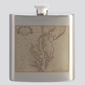 Vintage Map of The Chesapeake Bay (1719) Flask