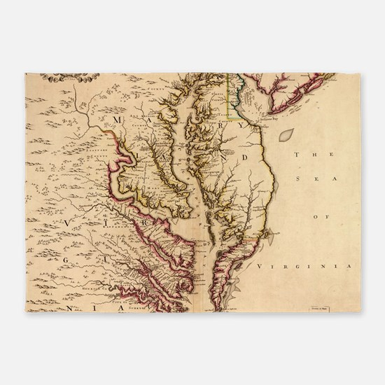 Vintage Map of The Chesapeake Bay ( 5'x7'Area Rug