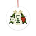 Peace Love Joy Snowman Ornament (Round)