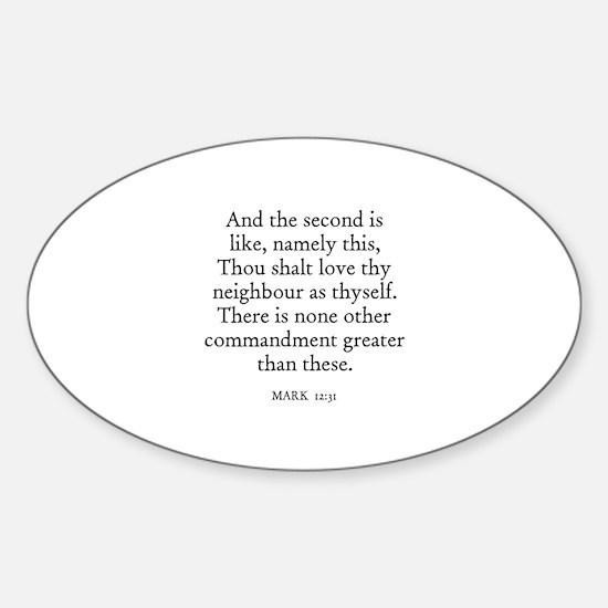 MARK 12:31 Oval Decal