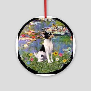 Monet's Lilies & Toy Fox Terrier Ornament (Round)