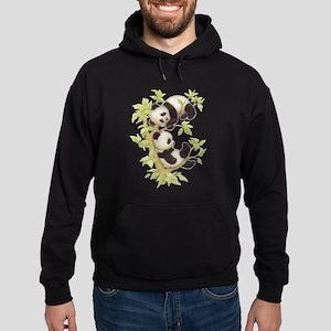Pandas Playing In A Tree Hoodie (dark)