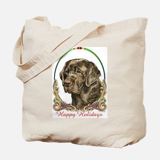 Chocolate Lab Holiday Tote Bag