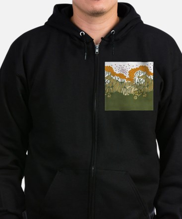 Arts and Crafts Trees Zip Hoodie (dark)