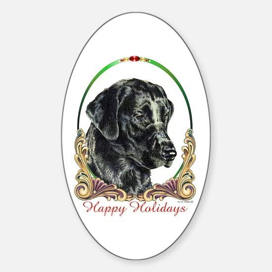 Black Lab Labrador Holiday Oval Decal