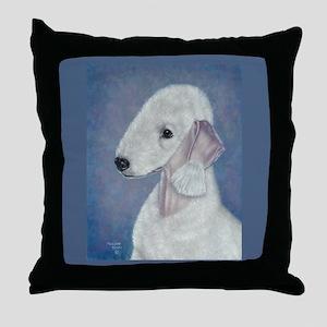 Bedlington (Blue) Throw Pillow