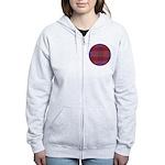 Purple Plaid Fractal Women's Zip Hoodie