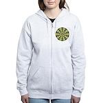Green Pattern 001 Women's Zip Hoodie