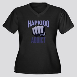 Hapkido Addict Women's Plus Size V-Neck Dark T-Shi