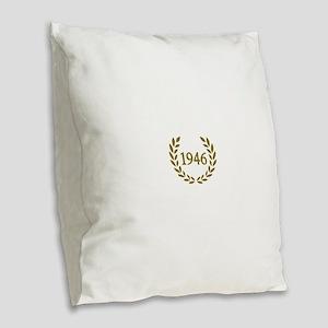 Black 1946 Burlap Throw Pillow