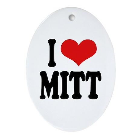 I Love Mitt Oval Ornament