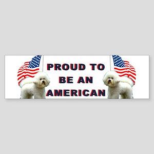 bichon and flag Bumper Sticker