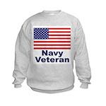 Navy Veteran (Front) Kids Sweatshirt