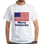 Navy Veteran White T-Shirt