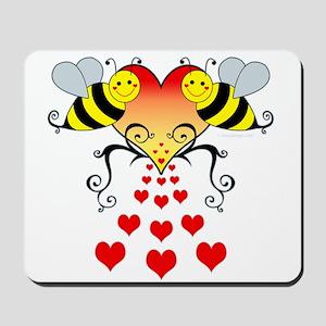 Bumble Bees Hearts Design Mousepad