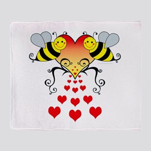 Bumble Bees Hearts Design Throw Blanket