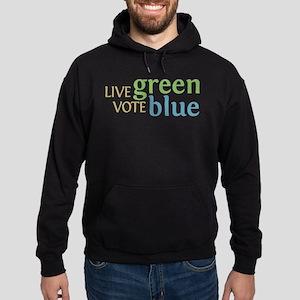 Live Green Vote Blue Hoodie (dark)