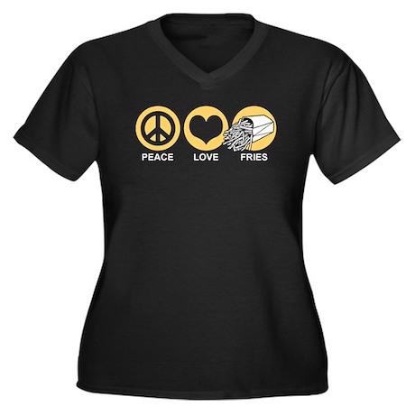Peace Love Fries Women's Plus Size V-Neck Dark T-S