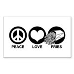 Peace Love Fries Rectangle Sticker