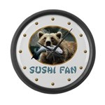 Sushi Fan Bear Large Wall Clock