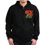 Red Poppies Zip Hoodie (dark)
